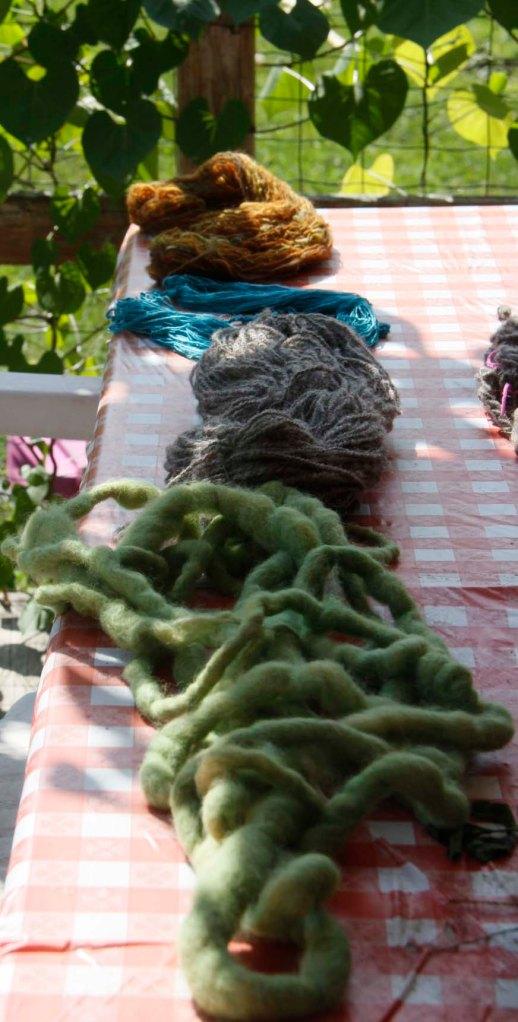 silk yarn, green sheep wool,