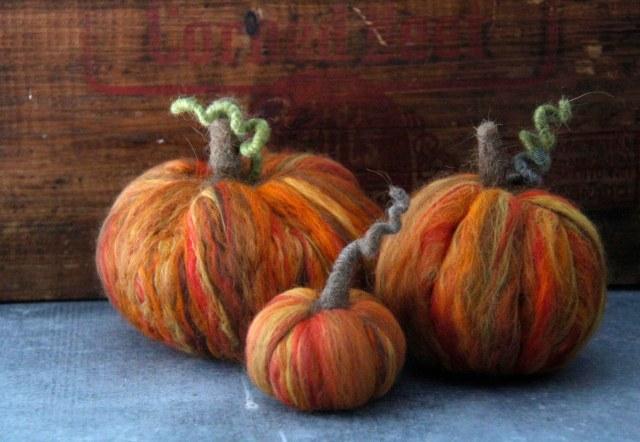 all three alternate, pumpkins, felted pumpkins, orange wool, variegated merino, orange wool