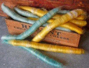yellow rolags, blue rolags, merino, batts, fiber batts