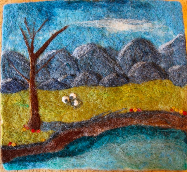 landscape, felt painting, sheep, mountain range