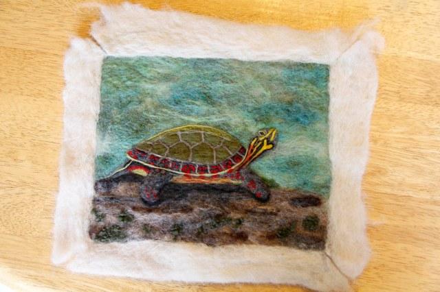 felt painting, turtle