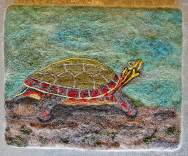 turtle, felt painting, water, wool