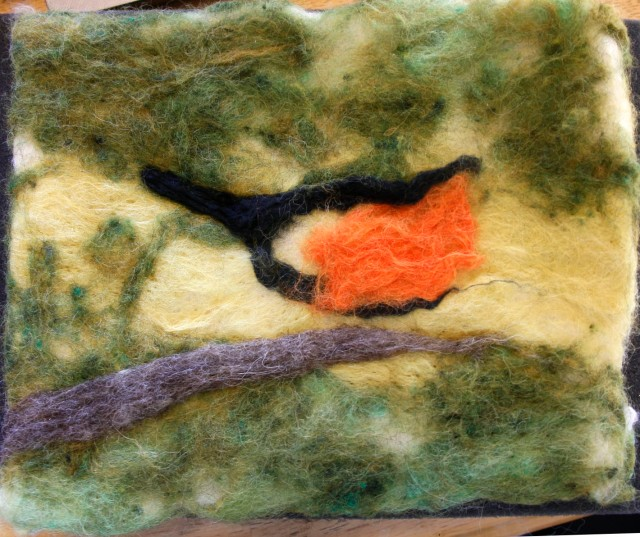Oriole After Wet Felting