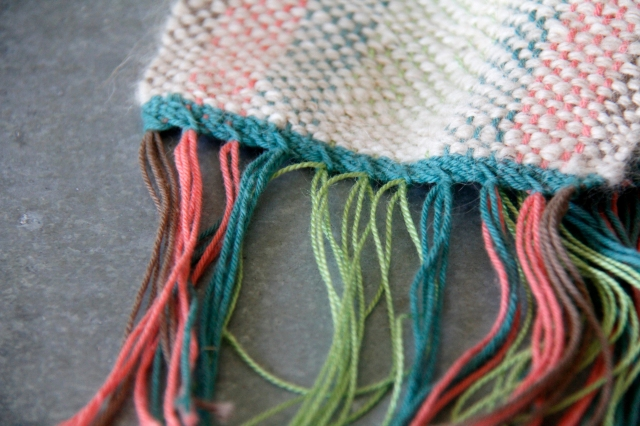 hemstitching, how to hemstitch, woven scarf, hand woven scarf