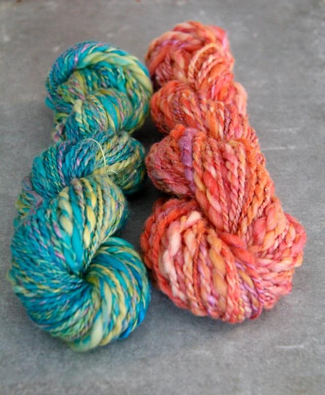 yarn, handspun yarn, handmade yarn, pink, green, pink yarn, green yarn, textured yarn, art yarn