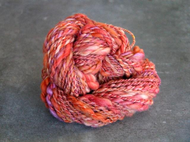 coral, pink, yarn, textured yarn, handspun, hand made yarn, hand spun yarn,